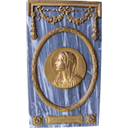 French Gilt Metal and Marble Religious Plaque