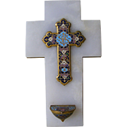 French champleve enamel holy water benitier and cross