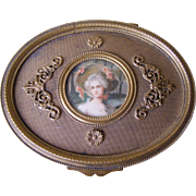 French Gilt bronze Trinket box with Portrait