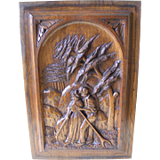 19th Century French Breton Carved Oak Panel