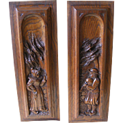 A Pair of 19th Century French Breton Carved Oak Panels
