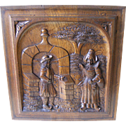 A 19th Century French Breton carved Oak Panel