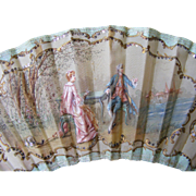 19th Century French Hand Painted Silk Fan Duvelleroy Paris