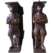 A Pair of 19th Century French Breton Carved Oak Figure Supports