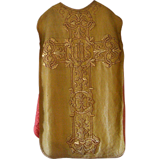 A 19th Century French Chasuble with Stole and Maniple