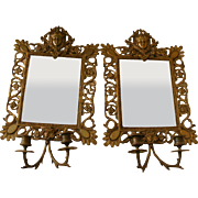 A Pair of 19th Century French Bronze Girandole Mirrors