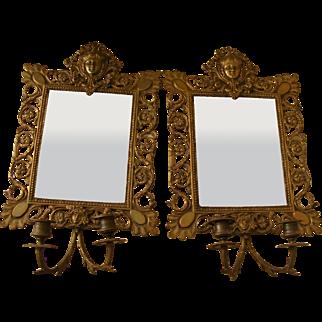 A Pair of 19th Century French Bronze Girandole Mirrors