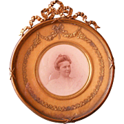 A French 19th Century Round Gilt Bronze Photo Frame