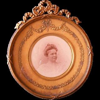 A French 19th Century Round Gilt Bronze Photo Frame