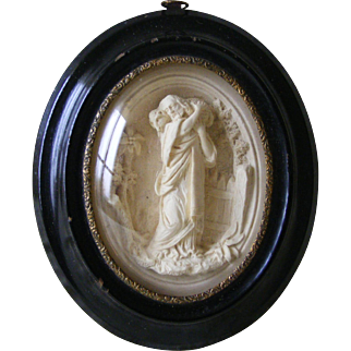 French Religious Plaster Figure of Jesus in Oval Frame