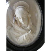A French Framed Plaster Figure the Virgin Mary