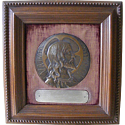 French Bronze Round Plaque of Christs Head in Oak Frame