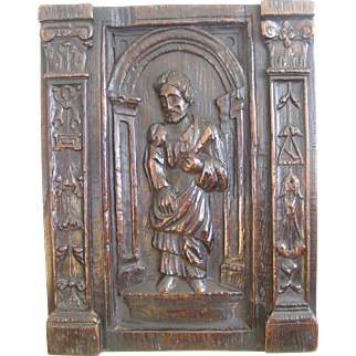 French 18th Century Carved Oak Panel