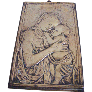 19th Century French Bronze Plaque Madonna and Baby Jesus by F Barbedienne