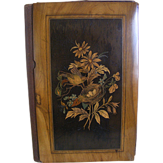 19th Century French Marquetry Folder with Bird and Nest