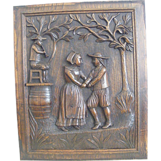 A 19th Century French Breton Carved Oak Panel of a Dancing Couple