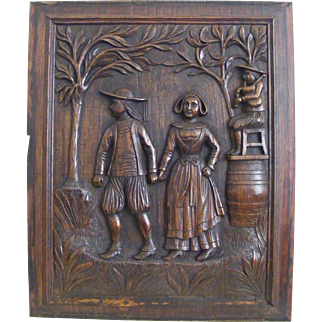A 19th Century French Breton Carved Oak Panel of a Couple Dancing