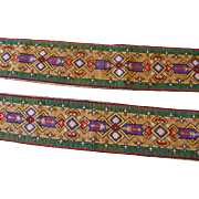 Two French Woven Needlework Runners