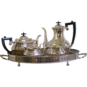 Sheffield Silver Plated Oval Tray with Four Piece Teaset
