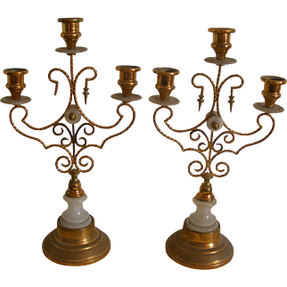 A Pair of French 19th Century Church Sanctuary Candle Holders