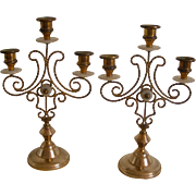 A Pair of 19th Century French Church Sanctuary Candle Holders