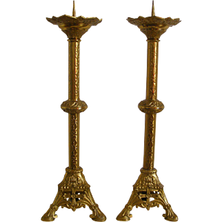 A Pair of French Church Alter Gilt Brass Candle holders