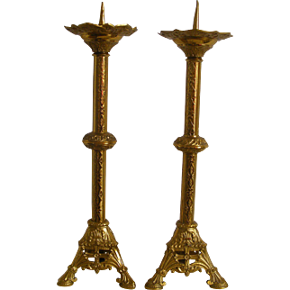 A Pair of 19th Century French Church Gilt Brass Candle Holders