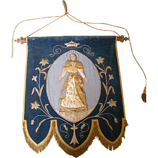 19th Century French Church or Procession Banner the Virgin Mary