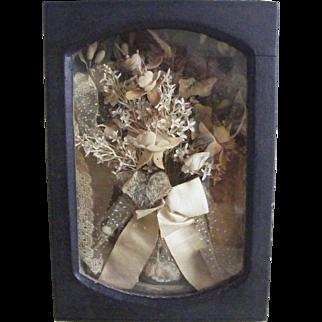 19th Century Wedding Bouquet in Shadow Box