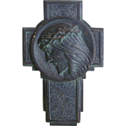 A French Bronze Plaque Christs Head Set in a Cross