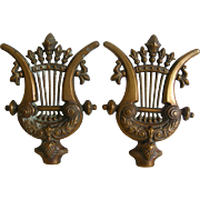 A Pair of 19th Century French brass Lyre Shaped Architectural Elements