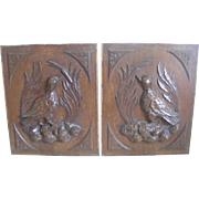 A Pair of 19th Century French Carved Oak Panels Birds