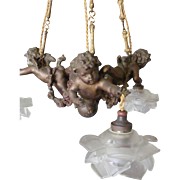 A French 19th Century Spelter Cherub Hanging Ceiling Light