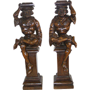 A Pair 19th Century French Carved Wood Jesters