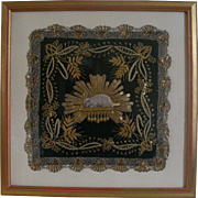 19th Century Framed French Religious Embroidery