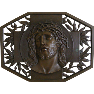 French Bronze Plaque of Christs Head