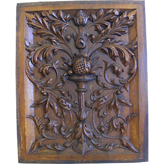 19th Century French Carved Wood Panel