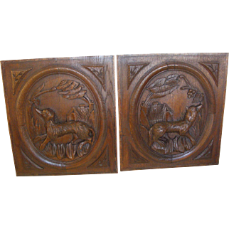 a Pair of French Carved Oak Panels Dogs