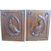 A Pair of French Carved Oak Bird Panels