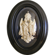 19th Century Religious French Framed Plaster Angels