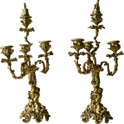 A Pair of 19th Century French Rococo Bronze Candelabra