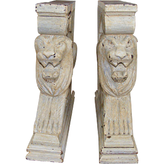 A Pair of French Carved Lion Supports