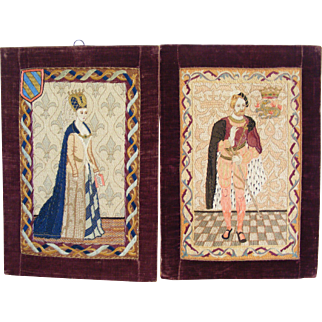 A Pair of Victorian Embroidered Panels King and Queen