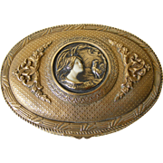 Bronze French Trinket Box with Medallion Of Art Nouveau Lady