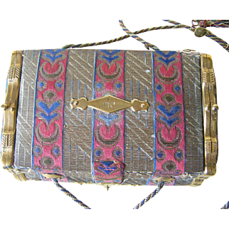 A 19th Century French Fabric Sewing Casket with Coin Purse