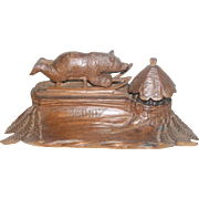 19th Century Black Forest Bear on Sledge Inkwell