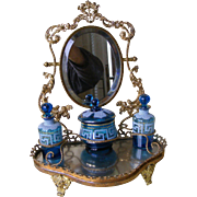 19th C French Gilt metal and Glass Scent Bottles dressing Table stand