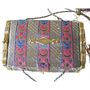 19 th Century French Fabric Sewing Casket with Coin Purse