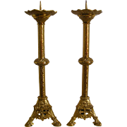 A Pair of 19th Century French Church Gilt Bronze Alter Candle Holders