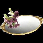 Matson Vanity Tray Mirror Roses Ormolu Oval Plated 24K